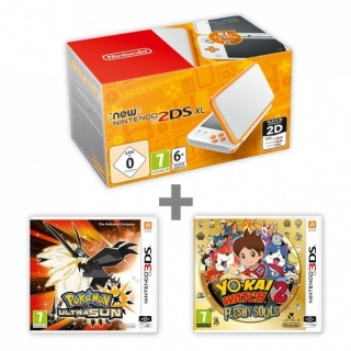 New N2DS XL White&Orange + Pokémon US + YW2